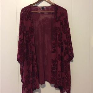 Burgundy Floral Cover Up